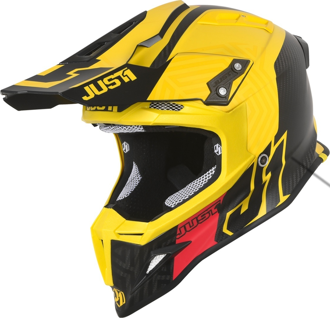 Just1 J12 Syncro Carbon Motocross Helm, schwarz-gelb, Größe M, schwarz-gelb, Größe M