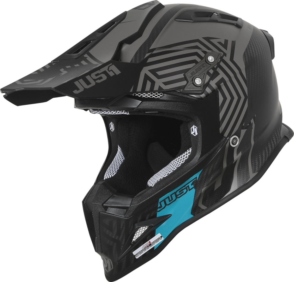 Just1 J12 Syncro Carbon Motocross Helm, schwarz-lila, Größe XS, schwarz-lila, Größe XS