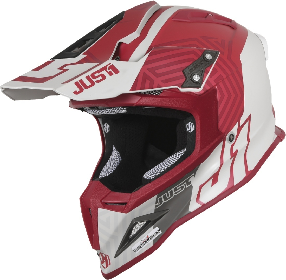 Just1 J12 Syncro Carbon Motocross Helm, weiss-rot, Größe S, weiss-rot, Größe S