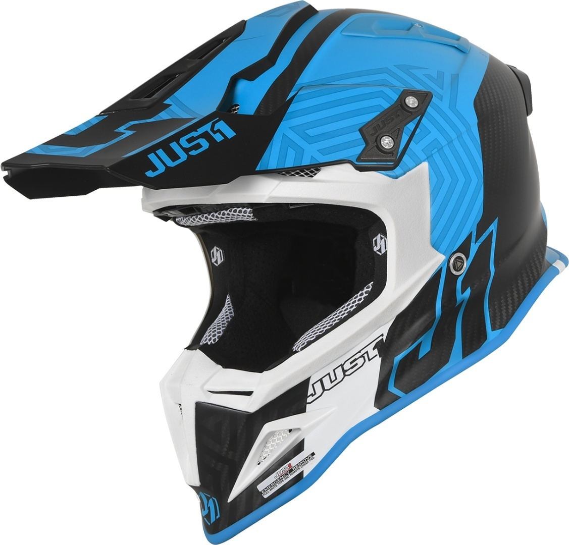 Just1 J12 Syncro Carbon Motocross Helm, weiss-türkis-blau, Größe XS, weiss-türkis-blau, Größe XS