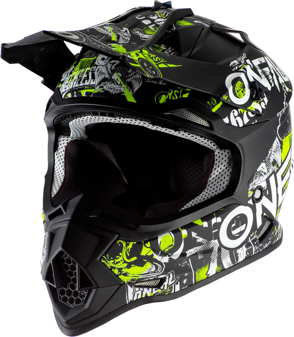 Oneal 2Series Attack Jugend Motocross Helm, schwarz-gelb, Größe M, schwarz-gelb, Größe M