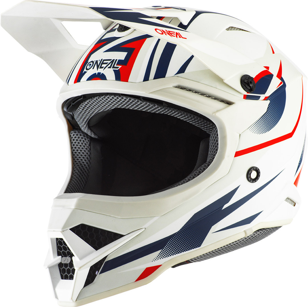 Oneal 3Series Riff 2.0 Motocross Helm, weiss-rot-blau, Größe M, weiss-rot-blau, Größe M