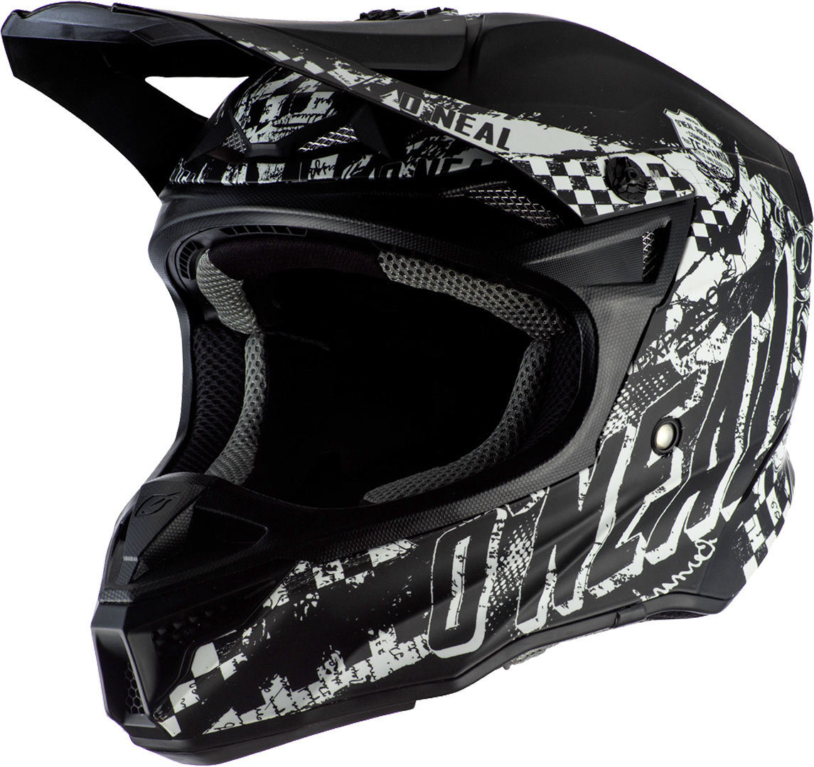 Oneal 5Series Polyacrylite Rider Motocross Helm, schwarz-weiss, Größe S, schwarz-weiss, Größe S