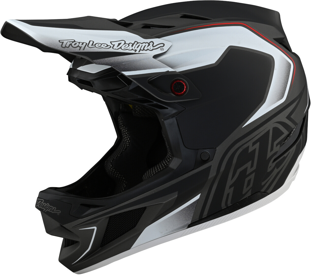 Troy Lee Designs D4 Exile MIPS Downhill Helm, schwarz-weiss, Größe M, schwarz-weiss, Größe M